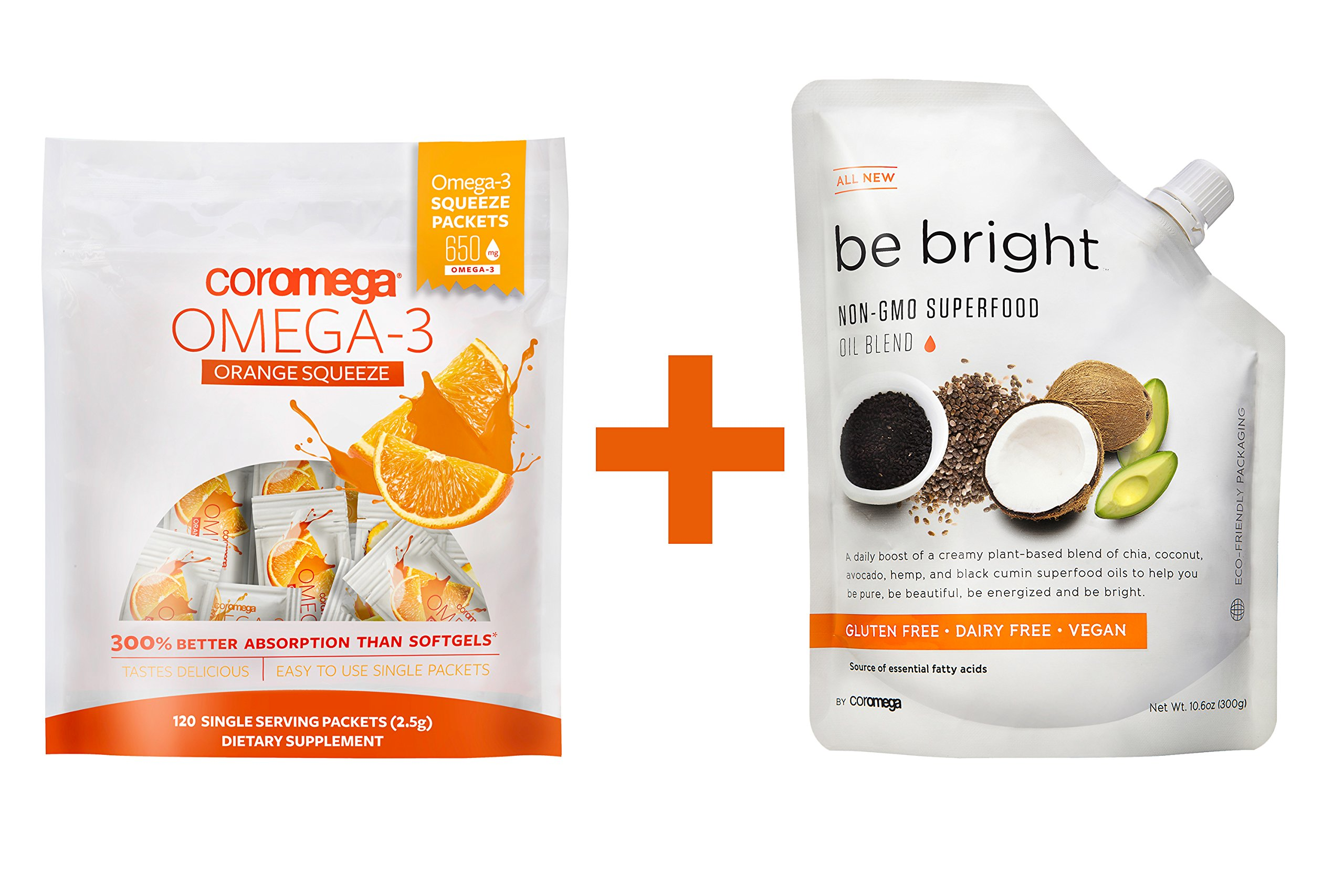 Coromega Omega-3 Fish Oil Squeeze Packets, DHA and EPA, Orange, 120-Count