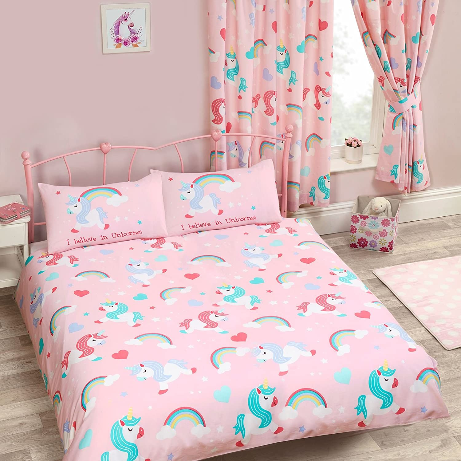 Price Right Home I Believe in Unicorns Double Duvet Cover and Pillowcase Set + Matching Fully Lined 66