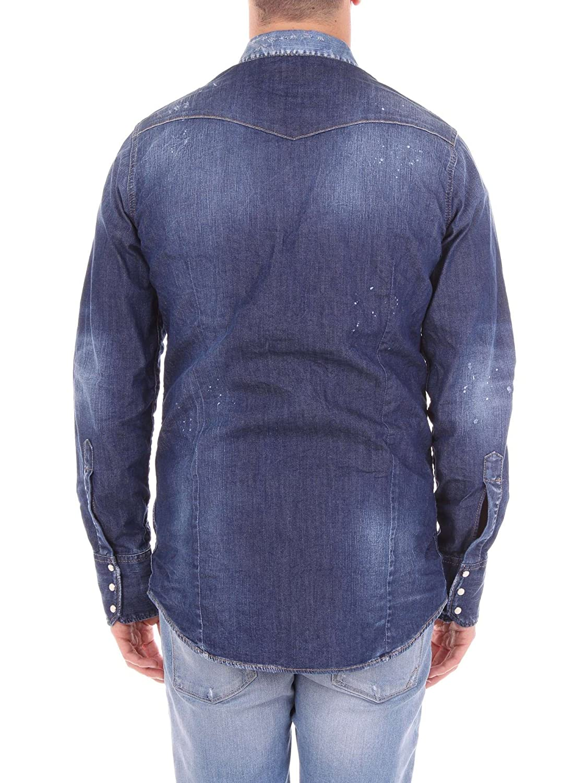 3d10e8721c DSquared2 Shirt - S74DM0030 Mens Patch Denim Shirt in Blue  Amazon.co.uk   Clothing
