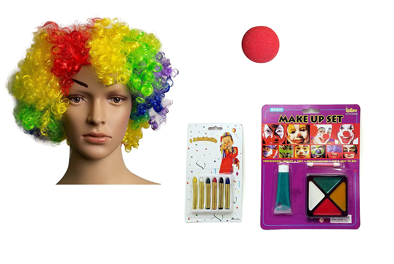 a5baf0b8dc5 Includes everything you need to finalized your clown costume. 1 clown wig
