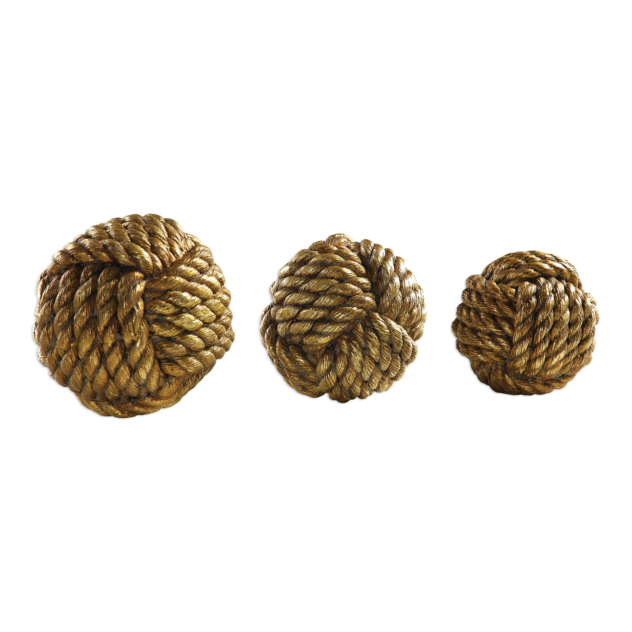Set 3 Gold Brass Rope Decorative Spheres | Paperweight Sculpture Ball by My Swanky Home