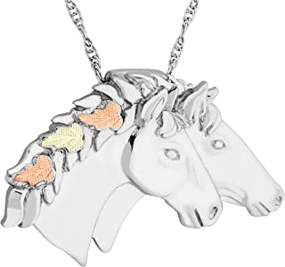 product image for Black Hills Gold on Silver Double Horse Head Pendant