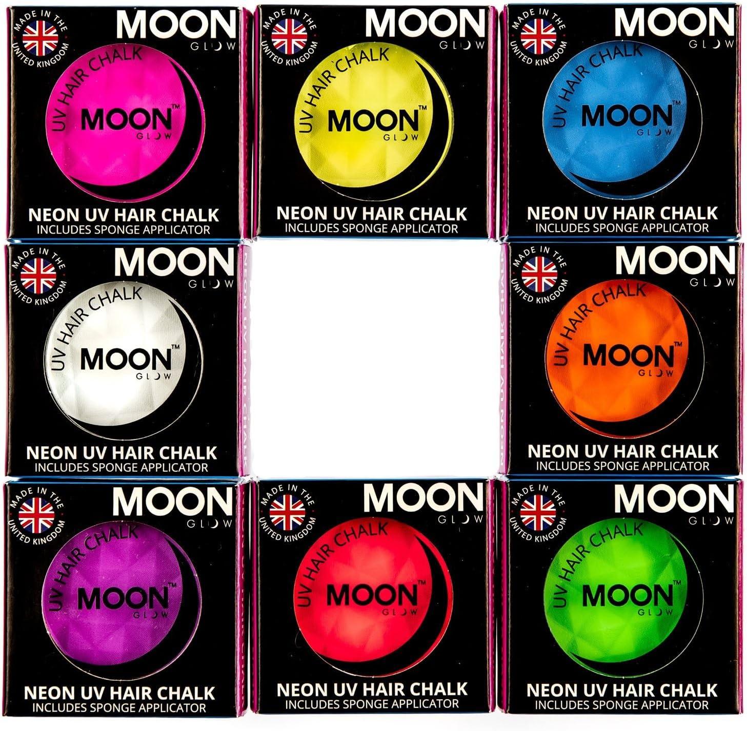 Moon Glow - Tiza para cabello UV de neón 3.5g Set de 8 colores - produce un brillo increíble bajo la iluminación/retroiluminación UV!