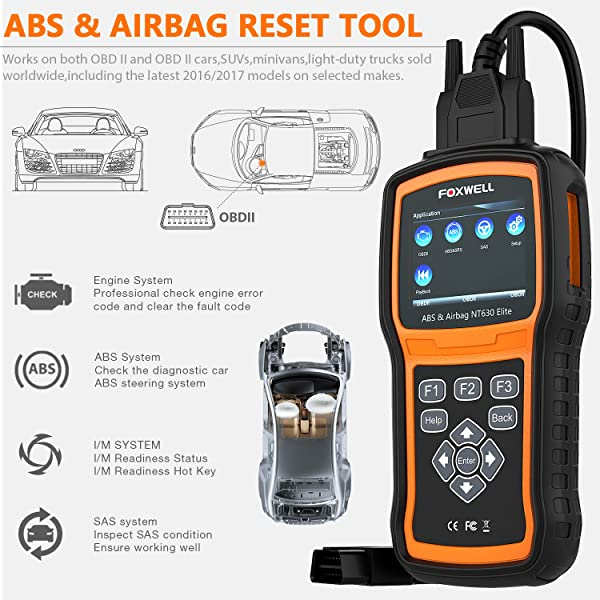 FOXWELL NT630 Elite is the one of the best OBD2 Scanners with ABS and SRS on the market.