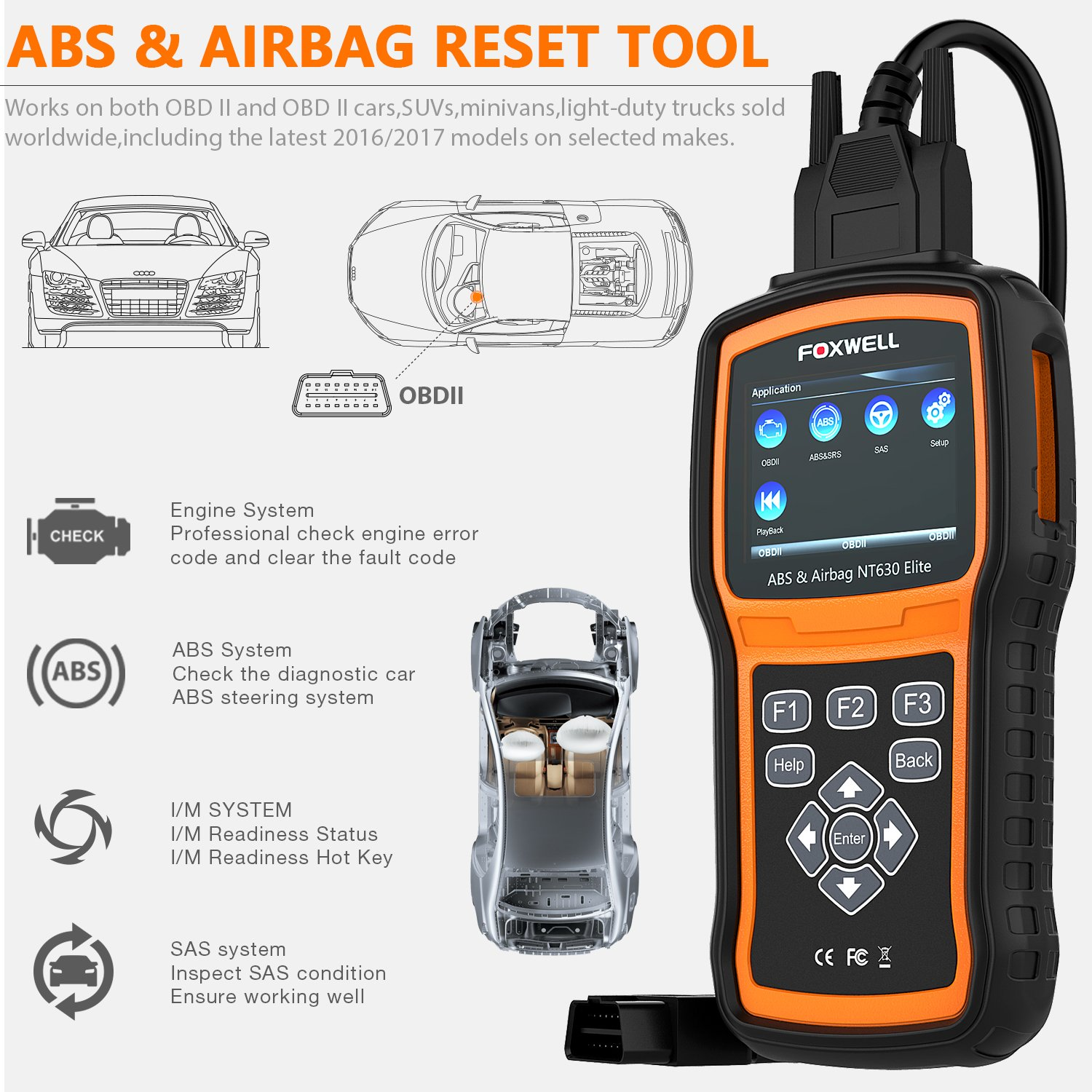 FOXWELL NT630 Elite OBD2 Scanner ABS SRS Code Reader Automotive OBD II ABS Airbag Diagnostic and Active Test Scan Tool by FOXWELL (Image #2)
