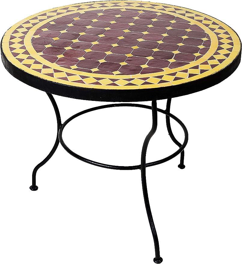 Original marroquí mosaico mesa mesa (Diámetro 60 cm Grande redondo | redondo pequeño mesa de jardín de mosaico Mediterran | como mesa auxiliar mesa para terraza o jardín,: Amazon.es: Juguetes y juegos
