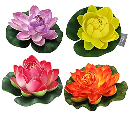Buy Tied Ribbons Set Of 4 Artificial Floating Lotus Flowers With
