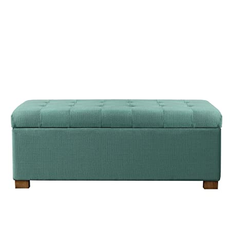 HomePop Large Rectangular Button Tufted Storage Bench with Hinged Lid, Teal