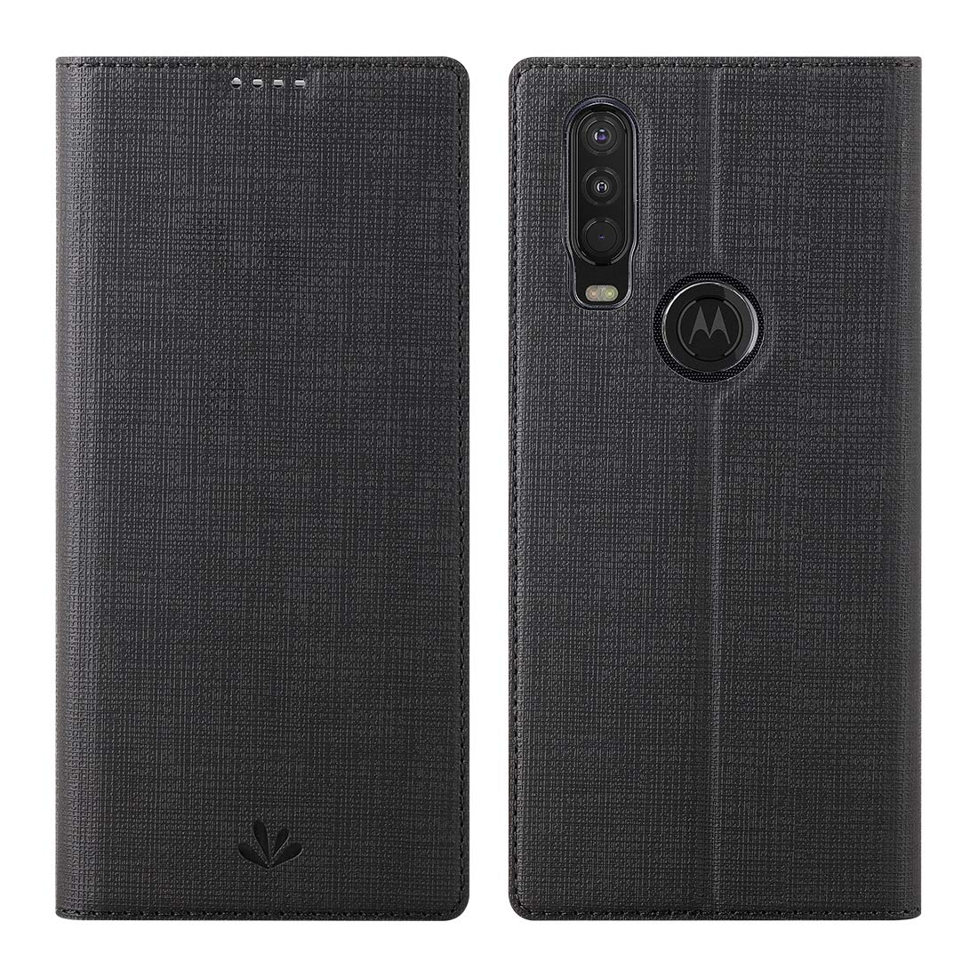 Funda Premium Flip Cover Para Motorola One Action, Negra