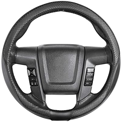"SEG Direct Car Steering Wheel Cover Large-Size for F150 F250 F350 Ram 4Runner Tacoma Tundra Range Rover with 15 1/2""-16\"" Outer Diameter Leather with Argyle Black: Automotive [5Bkhe1503587]"