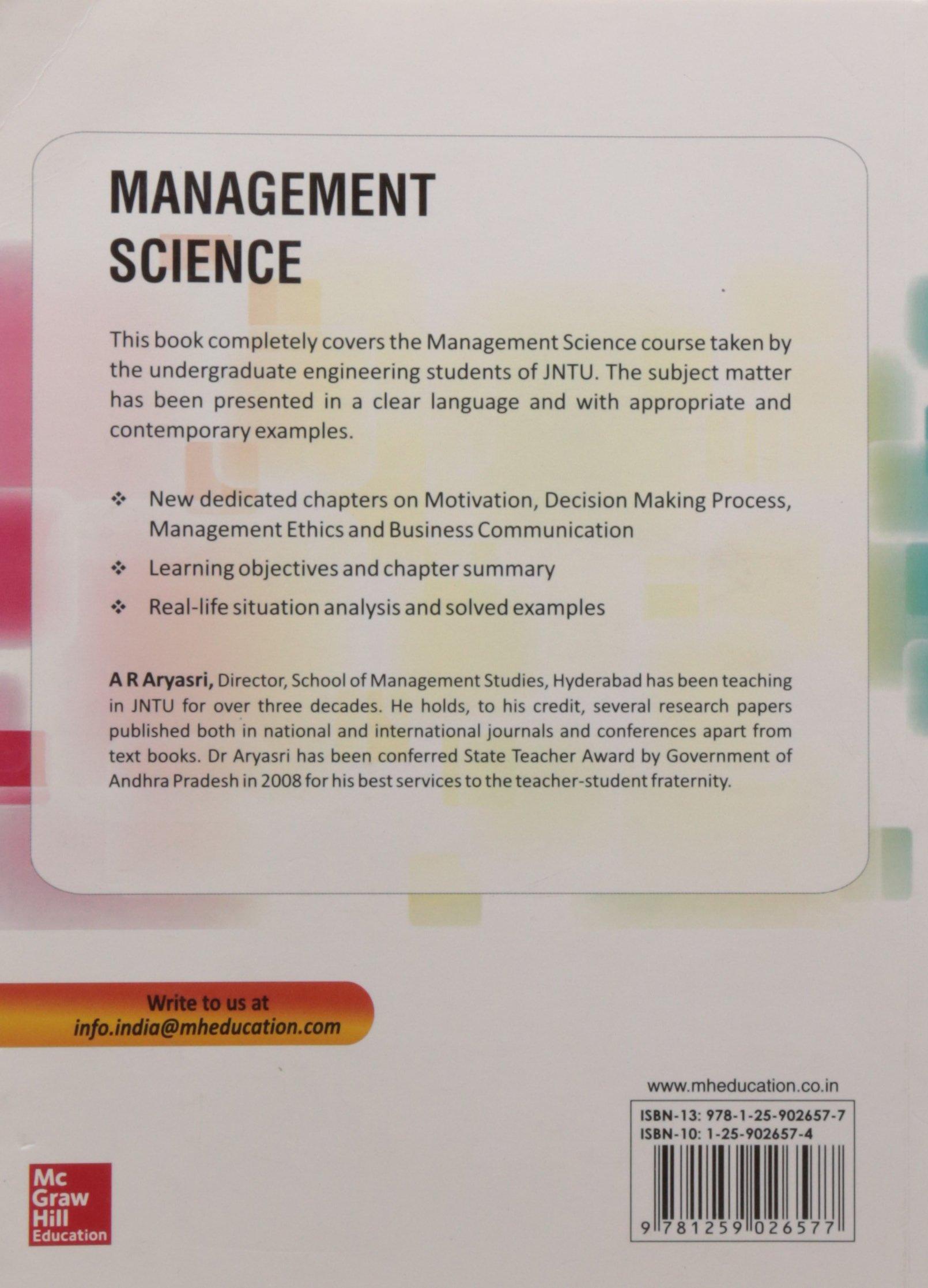 MANAGEMENT SCIENCE ARYASRI EBOOK DOWNLOAD