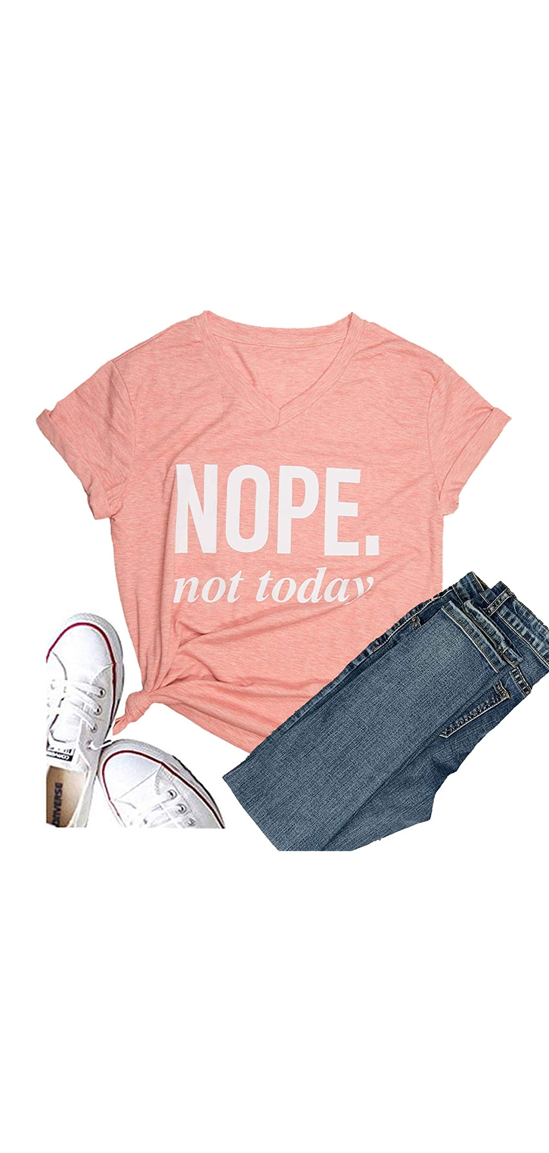 Women's Nope Not Today Short Sleeve Christmas T-shirt Graphic