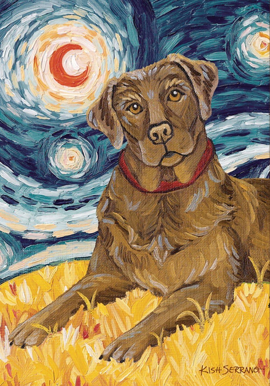Toland Home Garden Van Growl Chocolate Lab 28 x 40 Inch Puppy Dog Portrait Starry Night House Flag