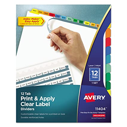 Amazon Avery Index Maker Clear Label Dividers 12 Tab Set