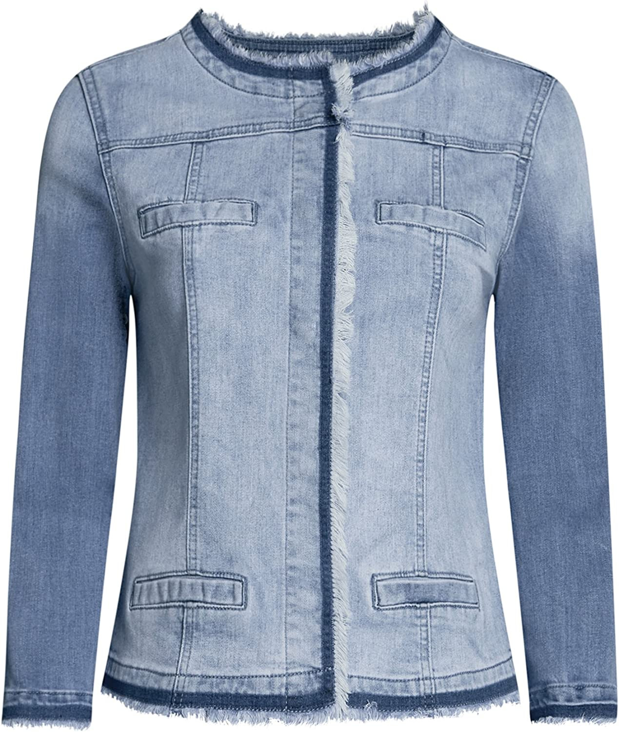 oodji Ultra Donna Giacca in Jeans con Bottoni Automatici
