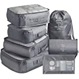 Packing Cubes 7 Pcs Travel Luggage Packing Organizers Set with Toiletry Bag (Gray)