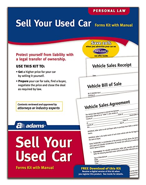 amazon com adams sell your used car forms and instructions pk214