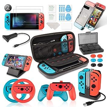 Keten Kit de Accesorios para Nintendo Switch - Funda para Transporte/Base de Carga/Soporte/Cable de Extensión/Funda de Tarjeta/Protector de ...