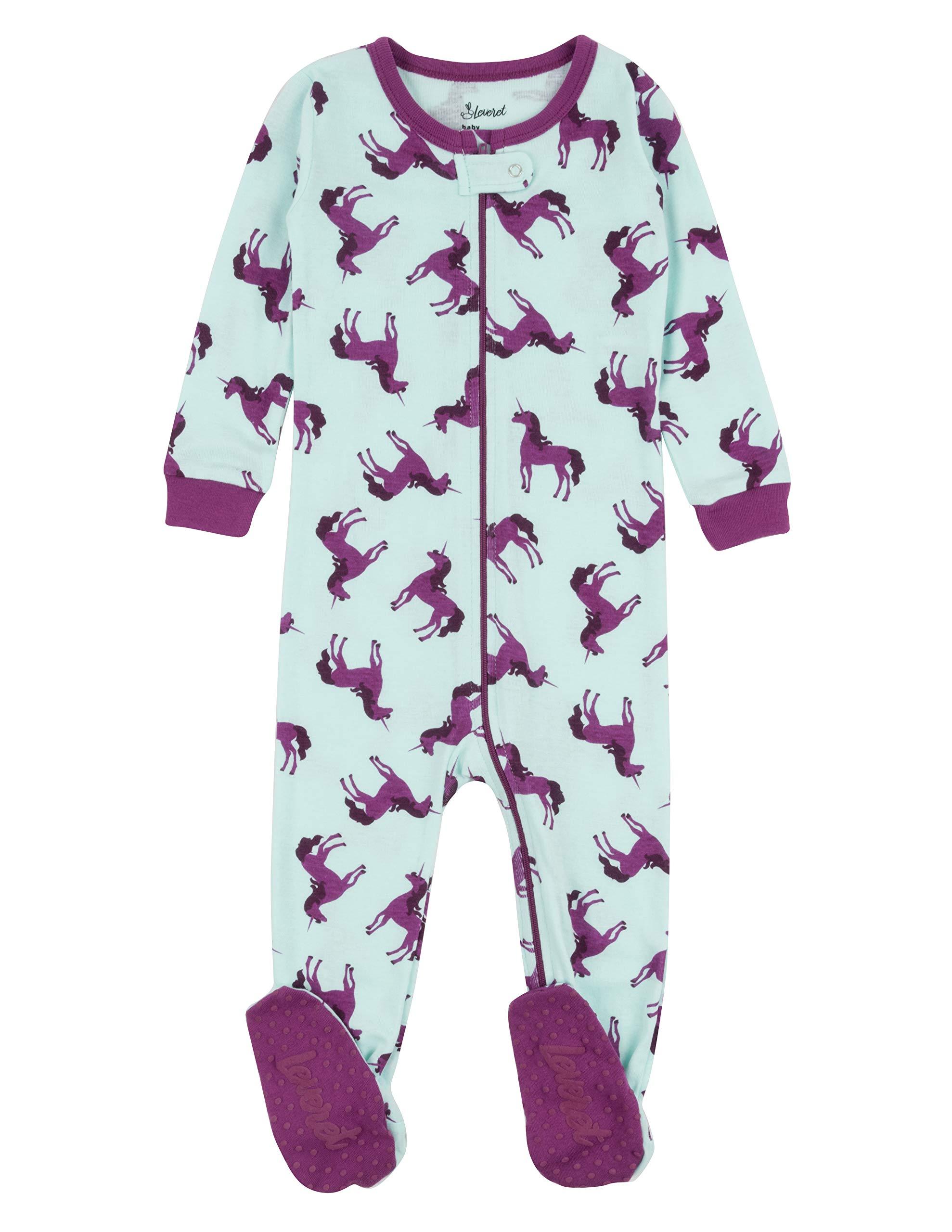 Leveret Kids Pajamas Baby Boys Girls Footed Pajamas Sleeper 100% Cotton  (Unicorn Purple 264db11ca