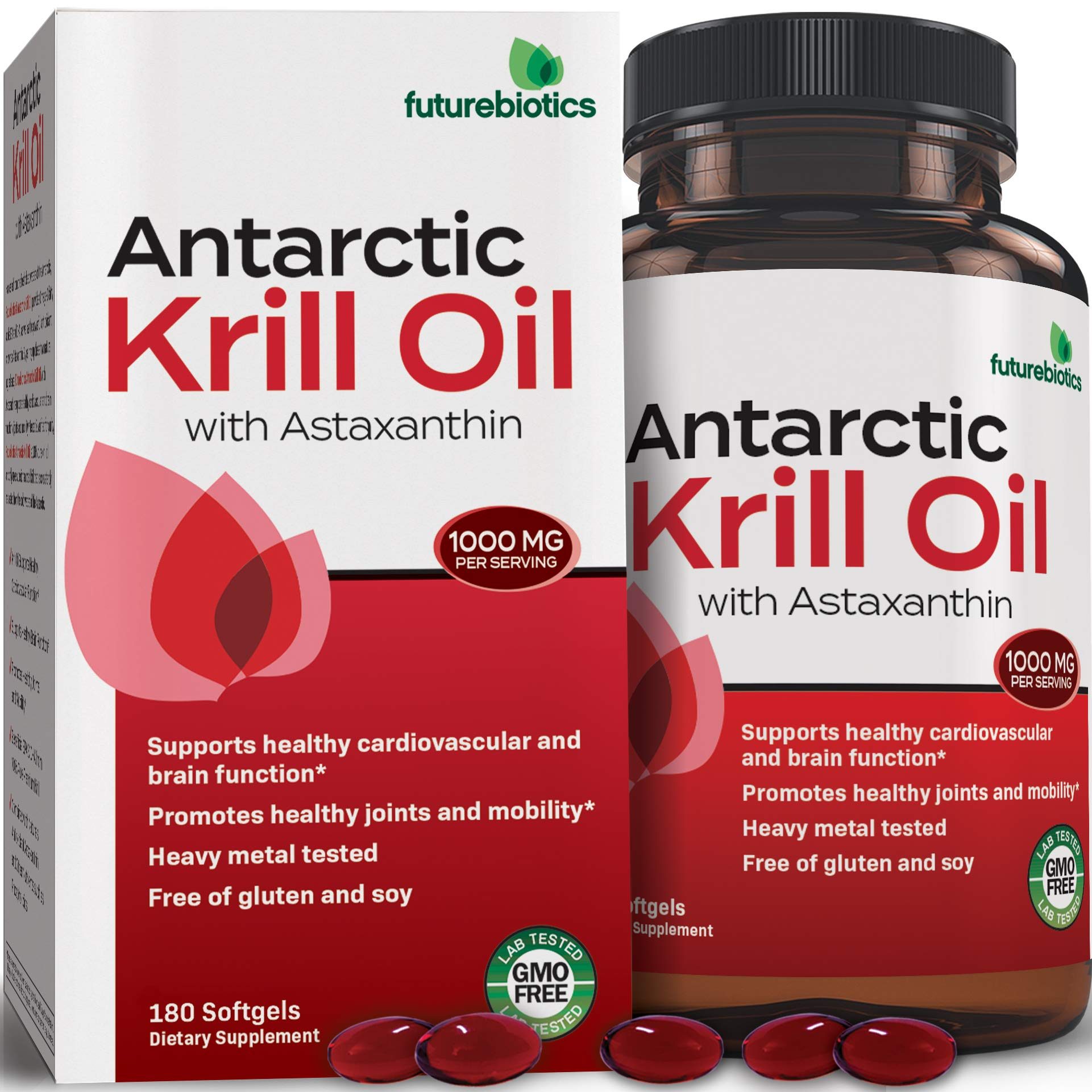 Futurebiotics Antarctic Krill Oil with Omega-3s EPA, DHA, Astaxanthin and Phospholipids - 100% Pure Premium Krill Oil Heavy Metal Tested, Non GMO Gluten Free Soy Free - 180 Softgels