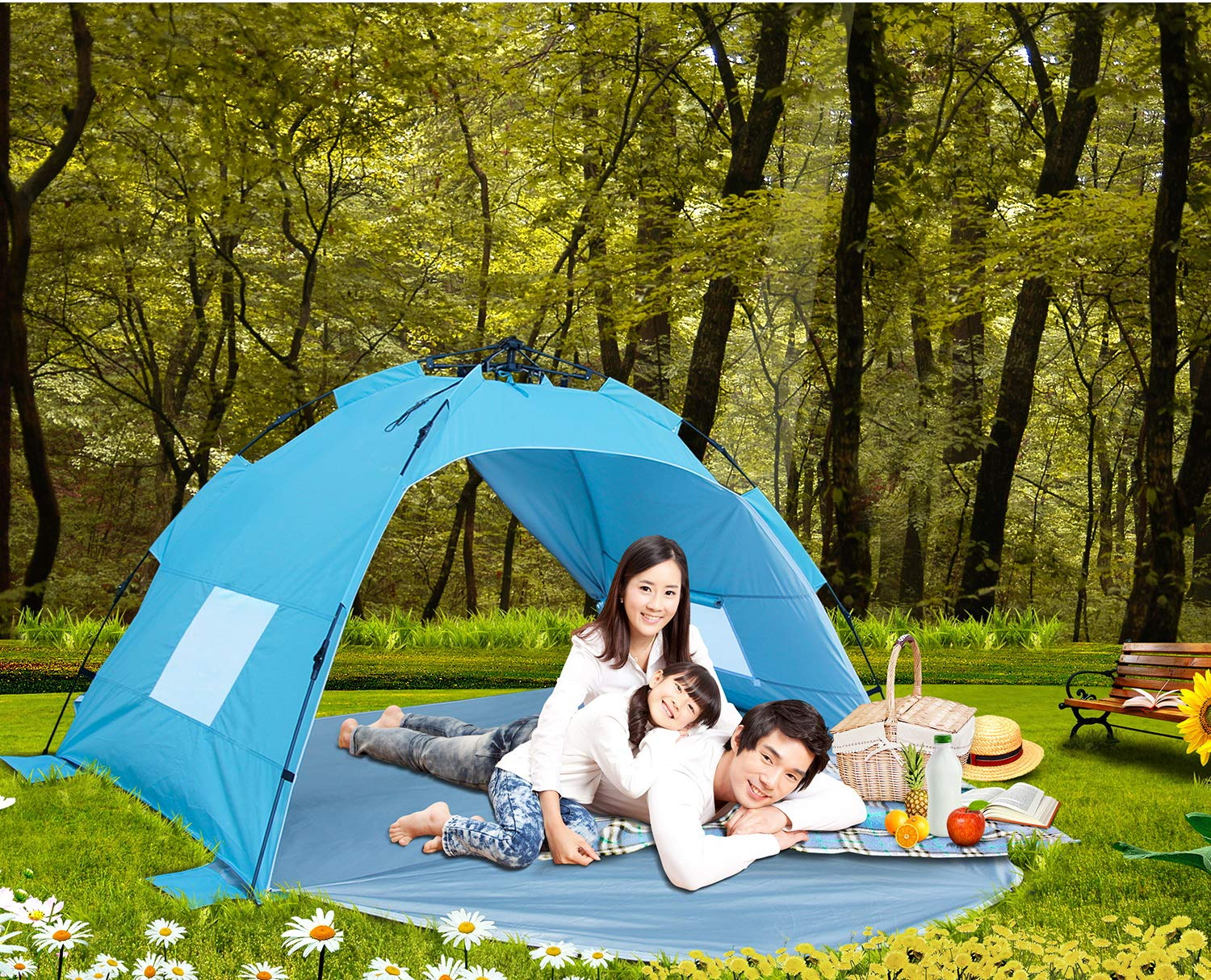 Sun-shelter Beach Tent 3 or 4 Person Automatic Camping Tent with UV Protection pop up Beach Shade for Outdoor Activities Easy Set up