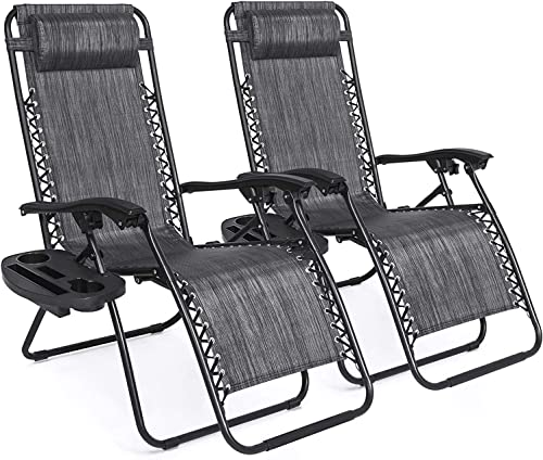 Deconi Set of 2 Adjustable Steel Mesh Zero Gravity Lounge Chair Recliners w/Pillows and Cup Holder Trays Gray