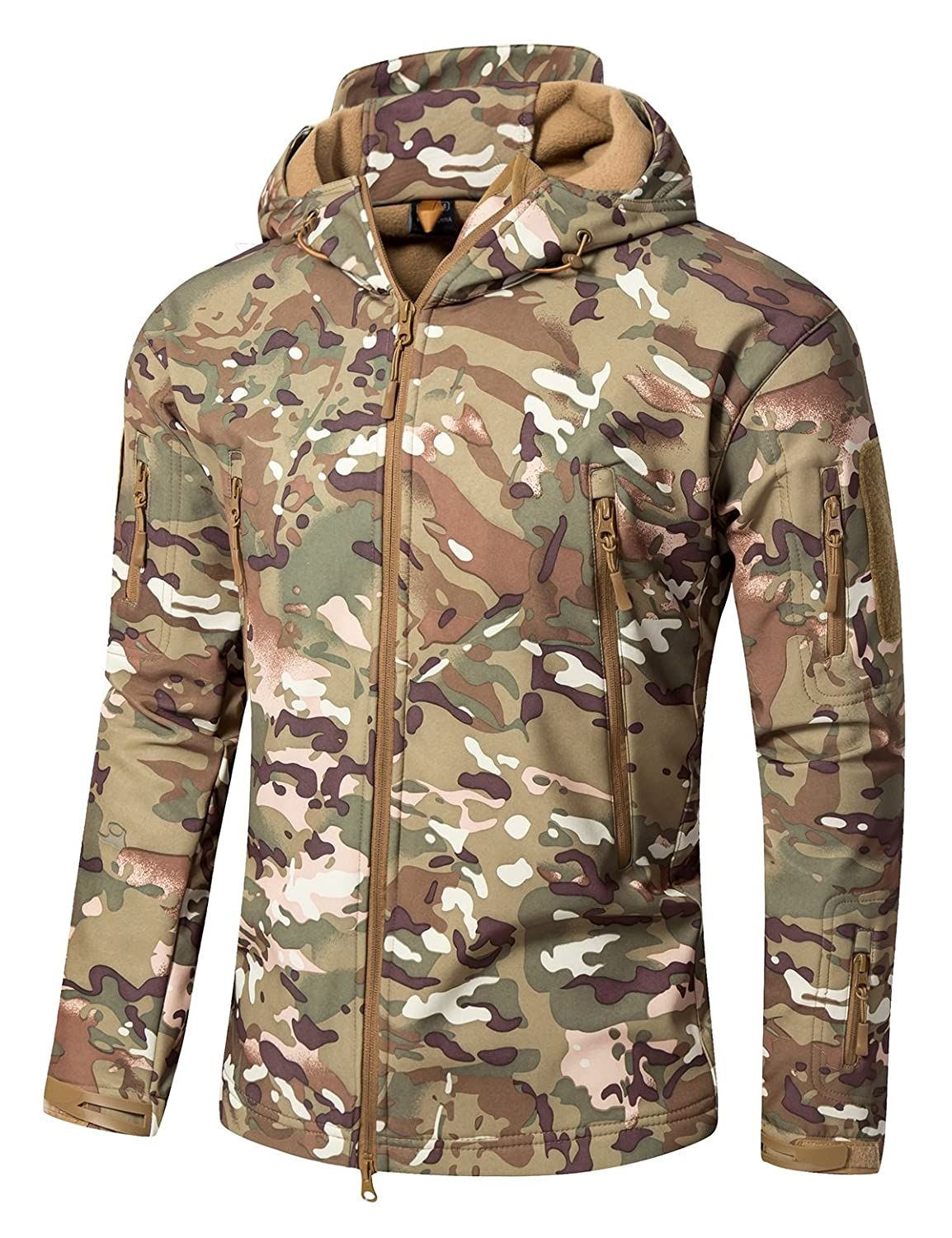 YFNT Men's Tactical Military Soft Shell Fleece Hoodie Jacket Windproof Coat L02RCFY-P