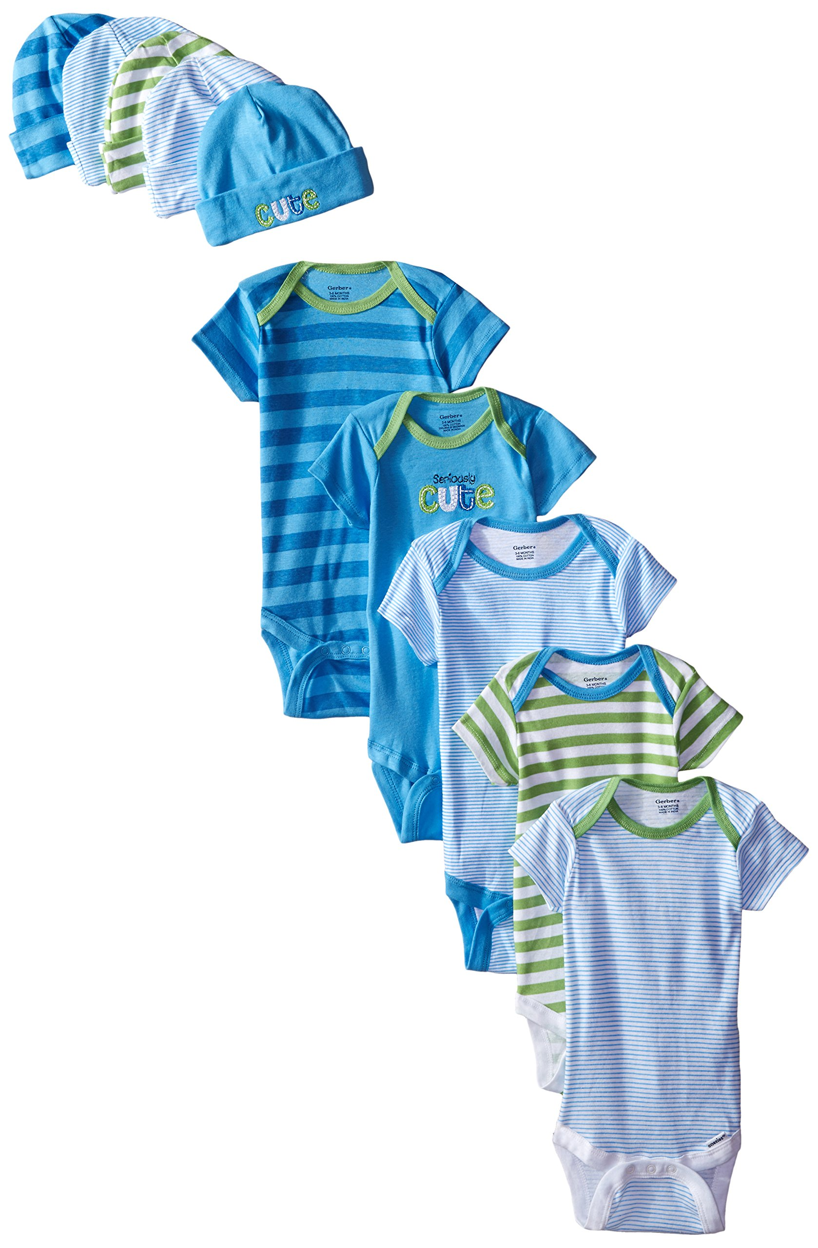 Gerber Baby-Boys Newborn Cars Onesies and Cap Bundle, Cars, 0-6 Months (Pack of 5)