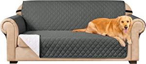 Subrtex Sofa Slipcover Reversible Sofa Cover Couch Cover Furniture Protector with Elastic Straps in Livingroom Non-Slip Washable Couch Chair for Pets Kids Children (Sofa, Gray)