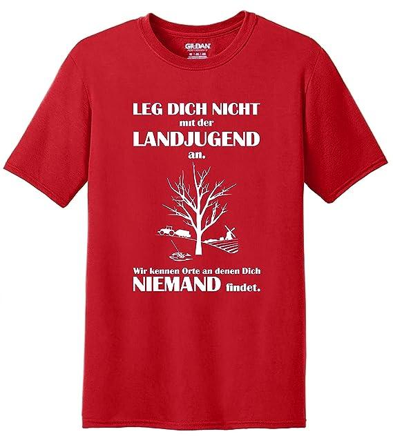 Fun Shirt Sprüche Leg Dich nicht mit der Landjugend an Wir kennen Orte an denen  Dich niemand findet: Amazon.de: Bekleidung