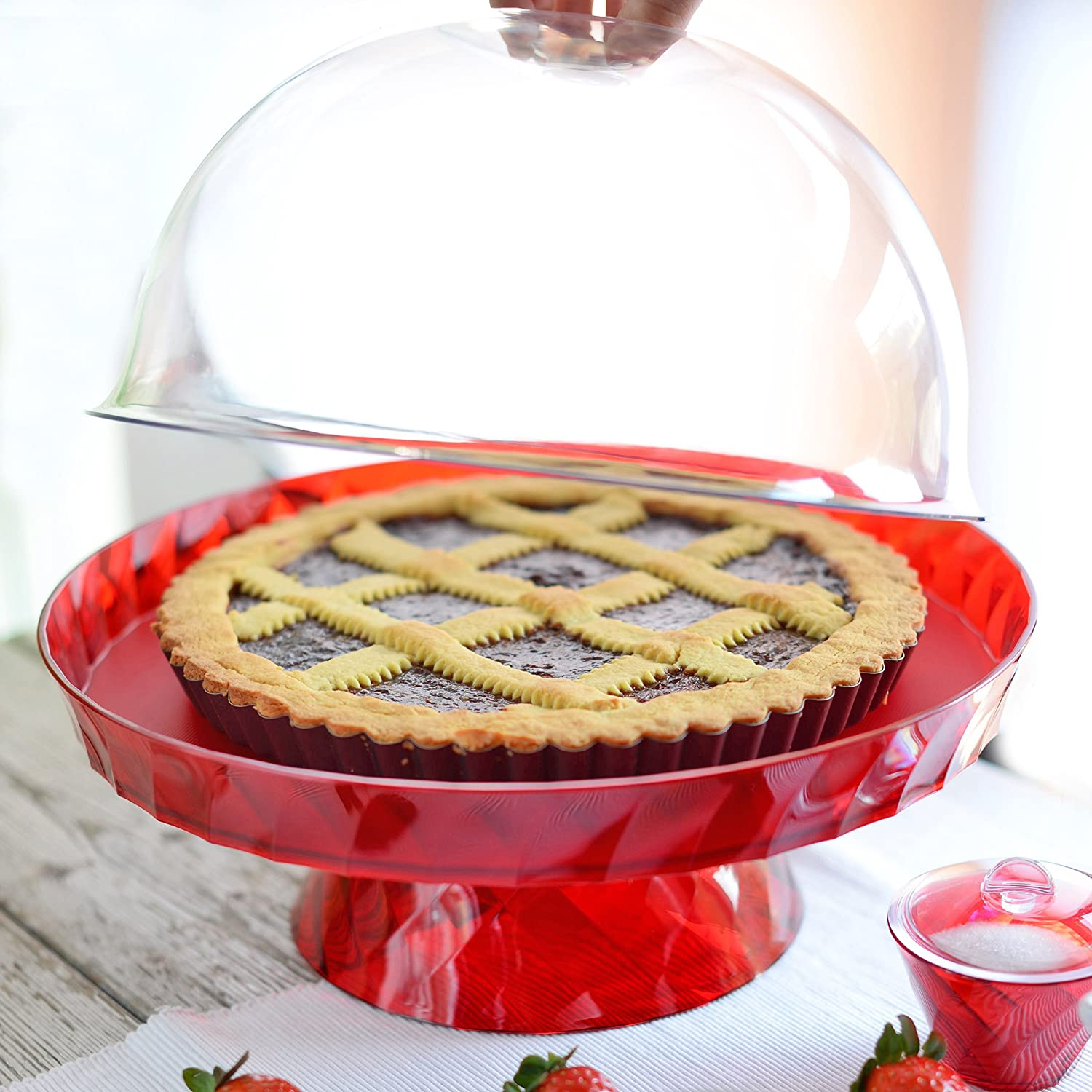 Domed Break-Resistant Cake Stand Footed Serving Display,Diamond line by omadadesign Clear Adamo srl M5322TR