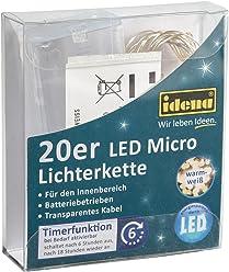 Idena LED Mircolichterkette 20er mit 6H-Timer, Plastik, 22 x 8,5 x 2,3 cm, warm weiß, 31118