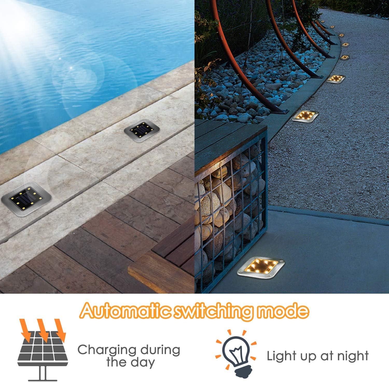 Impermeable IP65 Solar Luz L/ámpara de Camino de Paisaje Blanca C/álida para Patio Mitening 4 Pack Luces Solares Jard/ín 8 LED Luz Solar de C/ésped Clase de eficiencia energ/ética A C/ésped Pasillo