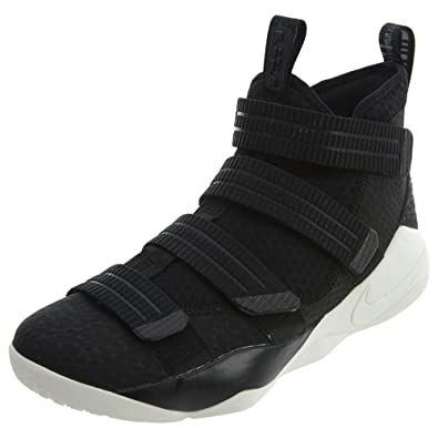 3b855a7785f Nike Mens Lebron Soldier XI SFG Basketball Shoes Black Racer Blue Sail  897646-