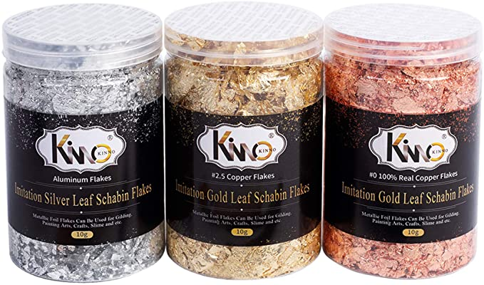Amazon.com: KINNO Gilding Flakes - Color 2.5 Imitation Gold, Silver, Color 0 Real Copper, 3 Bottles Metallic Foil Flakes for Painting Arts and Crafts,Nail Art: Toys & Games