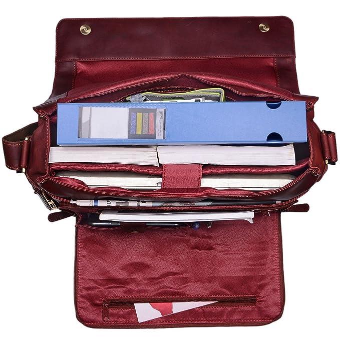 STILORD U0027Janu0027 15,6 Zoll Laptoptasche Leder Herren Damen Umhängetasche  Unitasche Aktentasche Freizeit Bürotasche Weiches Vintage Leder,  Farbe:rosso: ...