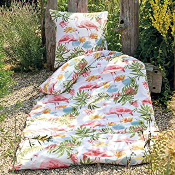 Janine Design Seersucker Bettwäsche Flamingo rot 155x220 cm + ...