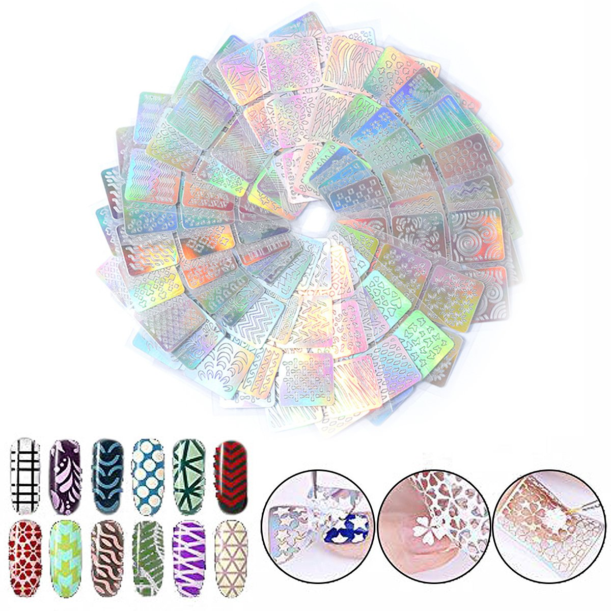 Skymore 144pcs Nail Stamping Stencils Nails Stickers Set, 24 Sheets 72 Different Designs Nail Stamping Plates with 6 Nail Symbol Sponges Wispury