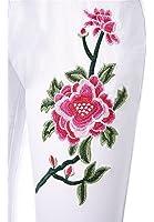Dearilin good quality; slim Women's High Waist Flower Embroidery Knee-cut Stretch Skinny Jeans Denim Pants