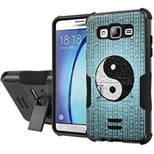 Galaxy [On5] Armor Case [NakedShield] [Black/Black] Urban Shockproof Defender [Kick Stand] - [Ying Yang Script] for Samsung Galaxy [On5]