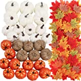 FUNARTY 30pcs Artificial Mixed Color Pumpkins Set with 300pcs Maple Leaves, Harvest Pumpkins for DIY Crafts Fall Wedding…