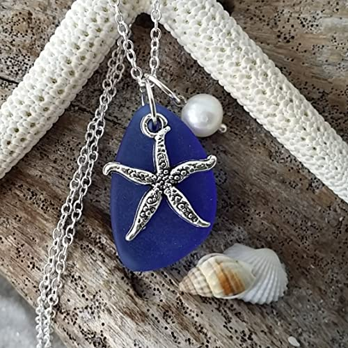 Handmade in Hawaii, cobalt blue sea glass necklace,starfish charm,fresh water pearl