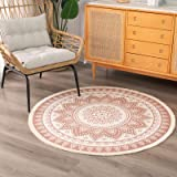 Boho Cotton Mandala Round Area Rug for Bedroom Living Room, with Bohemian Floral Pattern Hand Woven Circle Carpet with Tassel