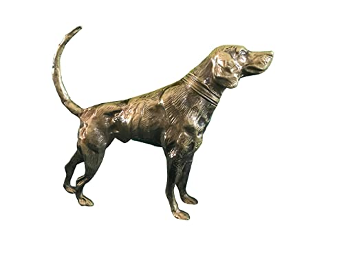Hound Dog Metal Statuette, Handcrafted Decorative Animal Sculpture, Aluminum Decorative Statue, Tabletop Decor – Study Room, D corating Figurine, House Warming Gift Polished Brass
