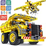 STEM Toy Building Sets for Boys 8-12 - 361 Pcs Construction Engineering Kit Builds Dump Truck or Airplane (2in1) STEM…
