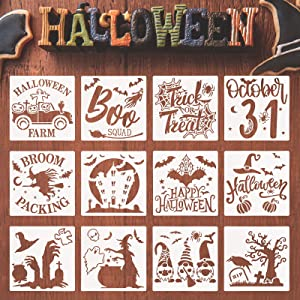 12 Pieces Halloween Painting Stencil Reusable Painting Template Witch Bat Skull Spider Ghost Halloween Stencils for DIY Craft Home Decor Art Drawing