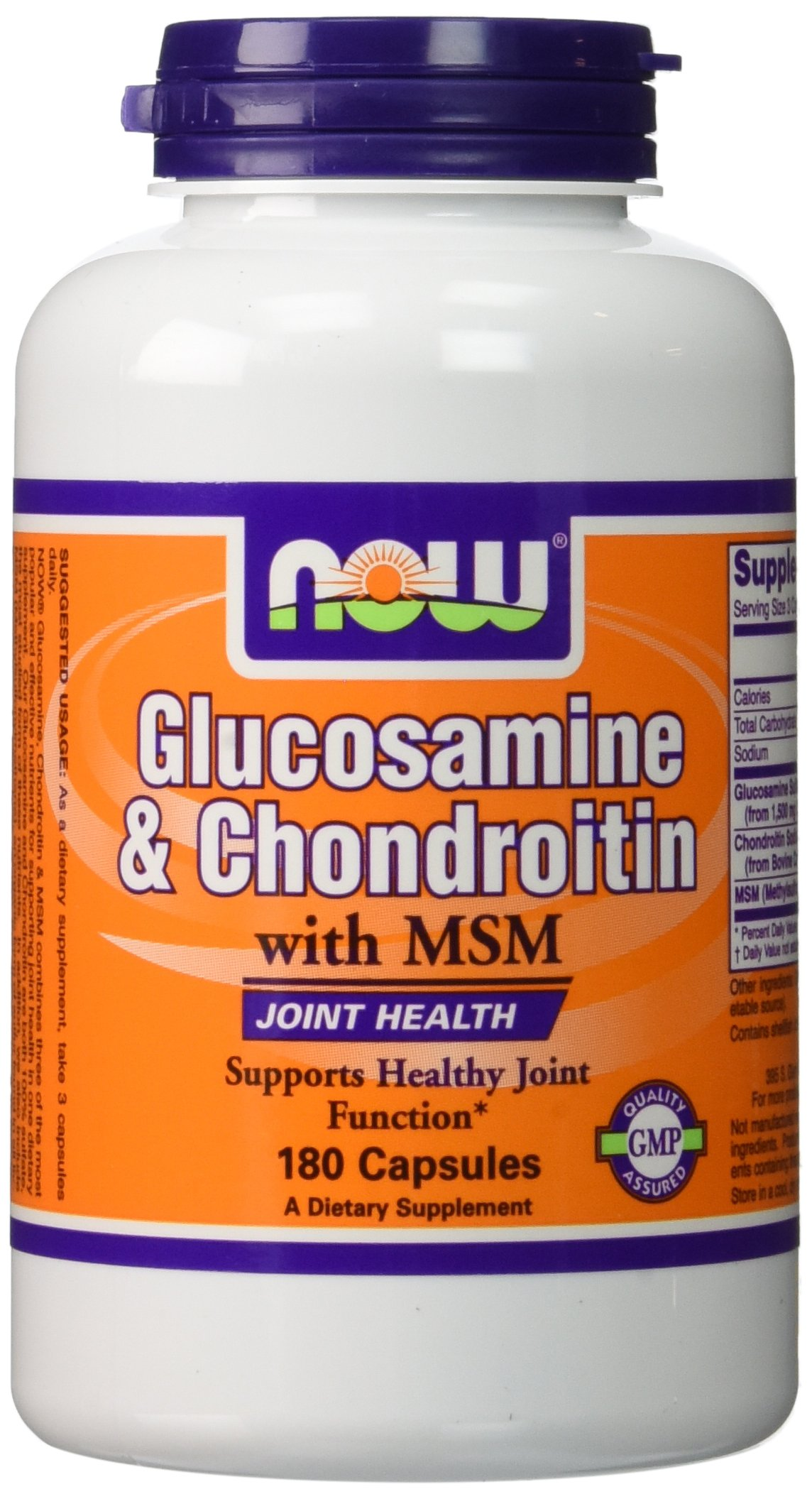 NOW Foods Glucosamine 1.1g, Chondroitin 1.2g, with MSM 300mg, 180 Capsules (Pack of 2)