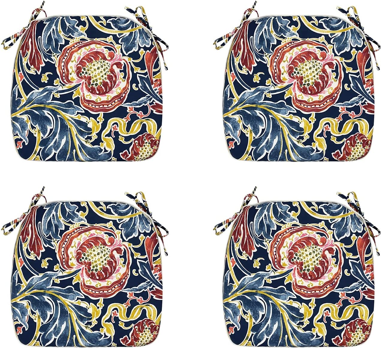 FBTS Prime Outdoor Chair Cushions Set of 4 18x19 Inch Patio Seat Cushions Navy Paisley Square Chair Pads for Outdoor Patio Furniture Garden Home Office