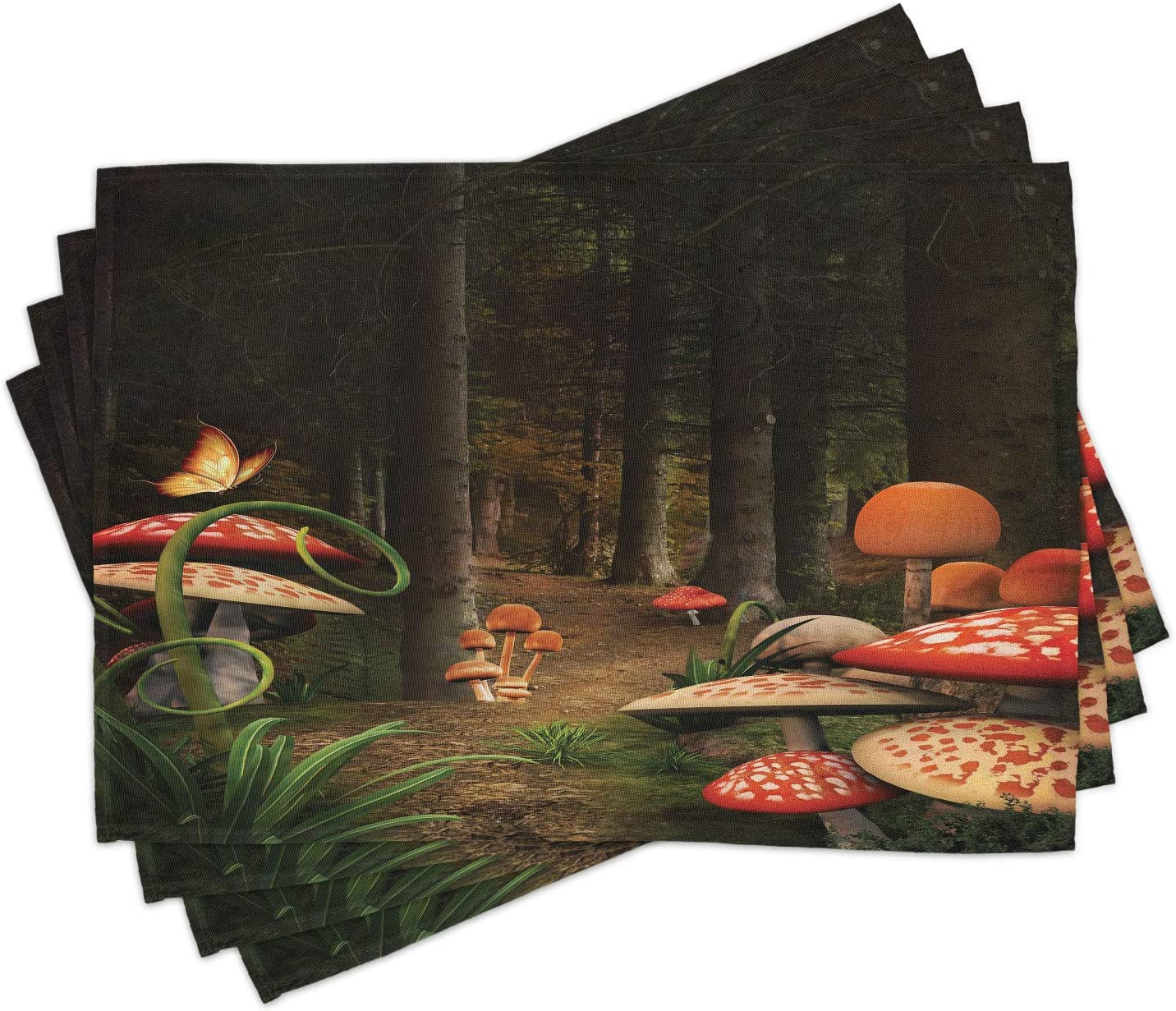 Ambesonne Mushroom Place Mats Set of 4, Mushrooms in Deep Dark Forest Fantasy Nature Theme Earth Path Mystical Image, Washable Fabric Placemats for Dining Room Kitchen Table Decor, Pomegranate Green