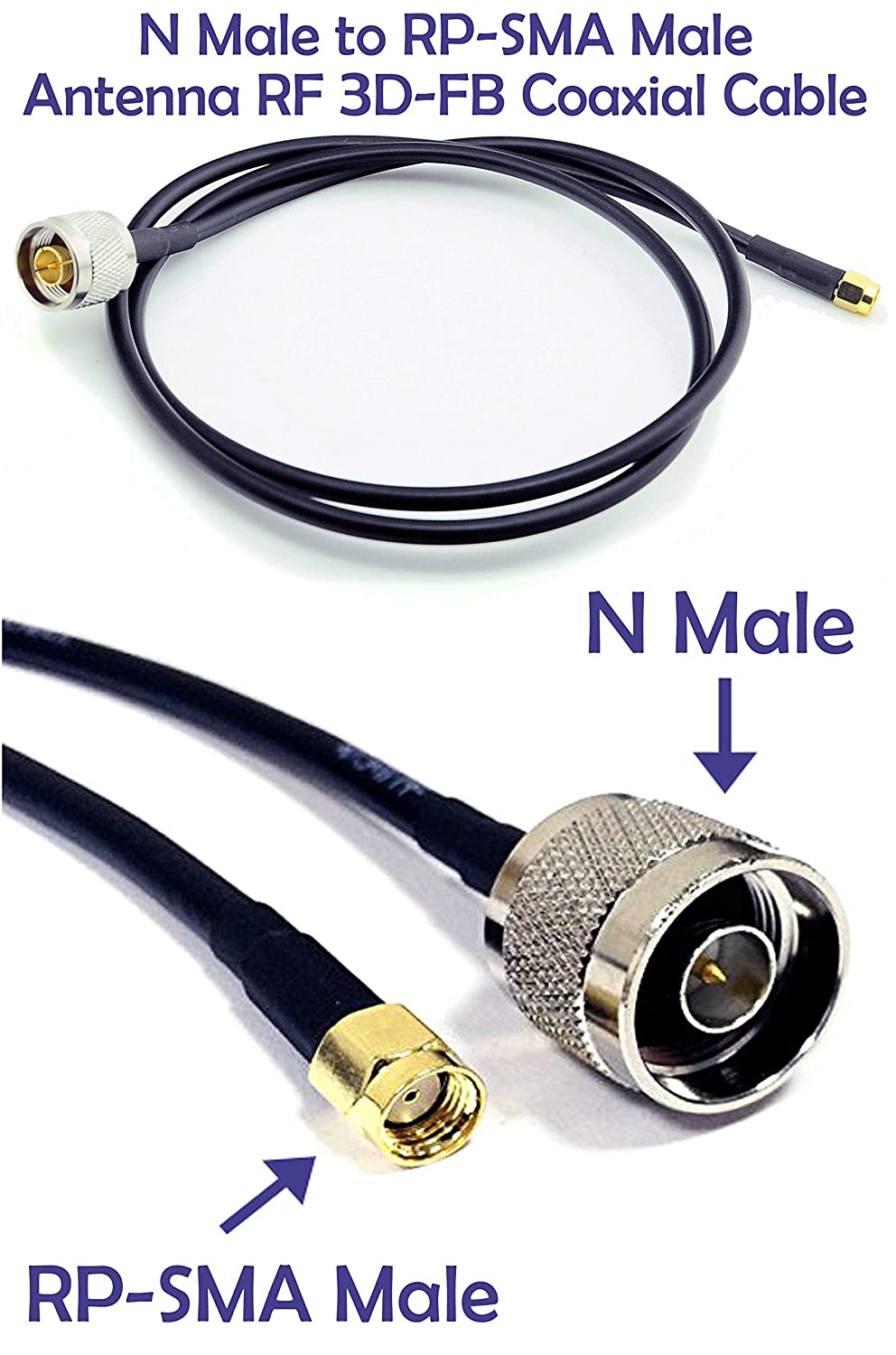 N Male to RP-SMA Male Connector Antenna Pigtail Coaxial 2.4Ghz/5Ghz 3D-FB Low Loss Copper Cable (3ft (1m/100cm) length)
